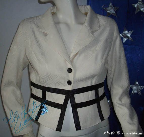 vestido marfil blanco negro corte empire par MatheHBcouture sur Etsy