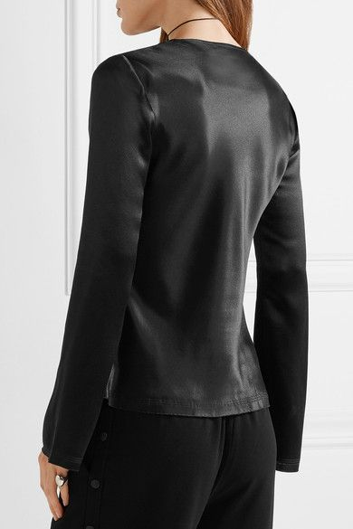 T by Alexander Wang - Knotted Hammered Silk-satin Blouse - Black - US