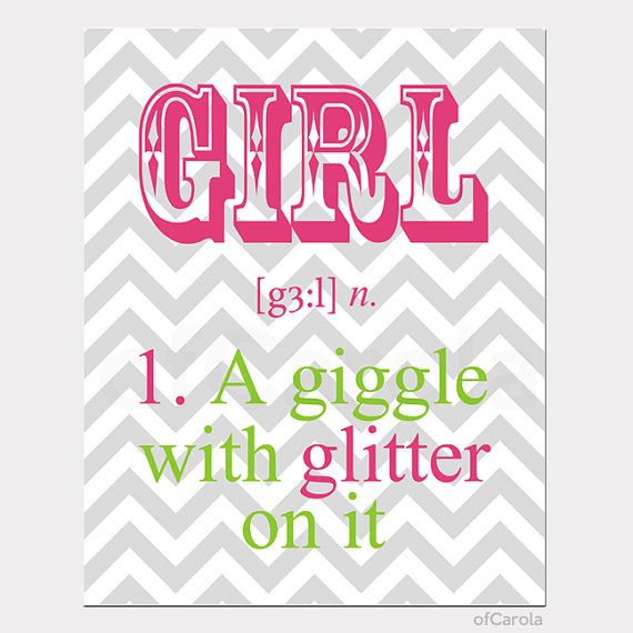 "Chevron Girls Quote Print Wall Art, Girl A Giggle With Glitter, PERSONALIZED Hot Pink Lime Green Gray White Kids Room Decor ofCarola 8x10"" on Etsy, $15.00"