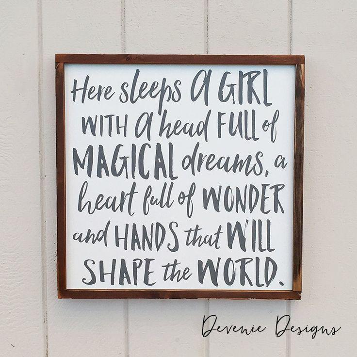 Here sleeps a girl with a head full of magical dreams - Framed Wood Sign - Girl…