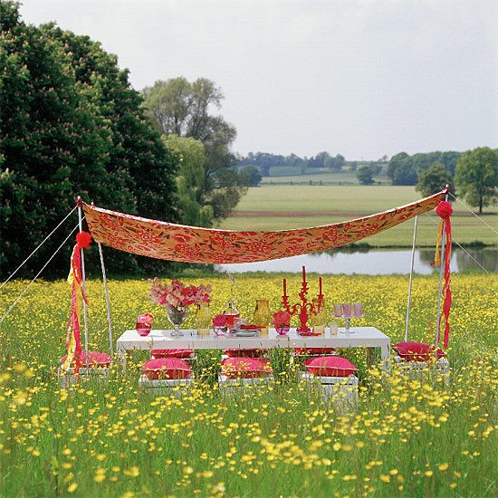 No backyard? No problem! Create this outdoor canopy dining room in any green space!