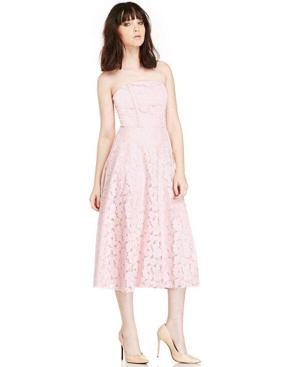 Women's Slim Lace Strapless Backless Empire Waist Below Knee Dress – Shefetch
