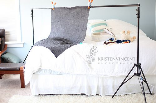 newborn set up using bed