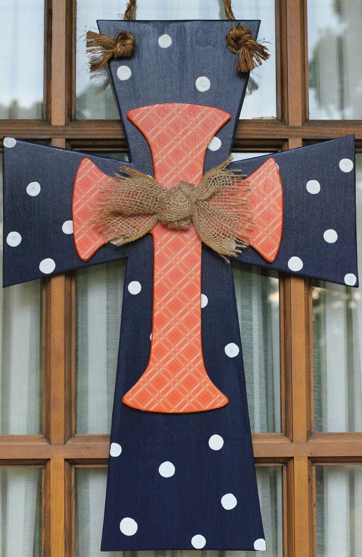 Auburn wooden cross door hanger with burlap bow