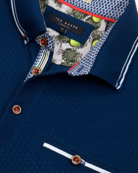 Textured polo shirt - Navy | Outlet | Ted Baker UK