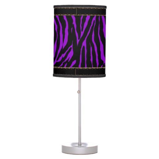 Violet Purple Zebra  Lamp with Black Trim