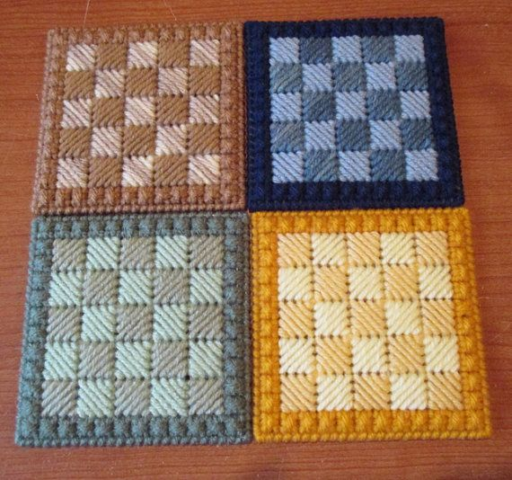 Coaster Set  Handmade Plastic Canvas Coasters  by craftpatch