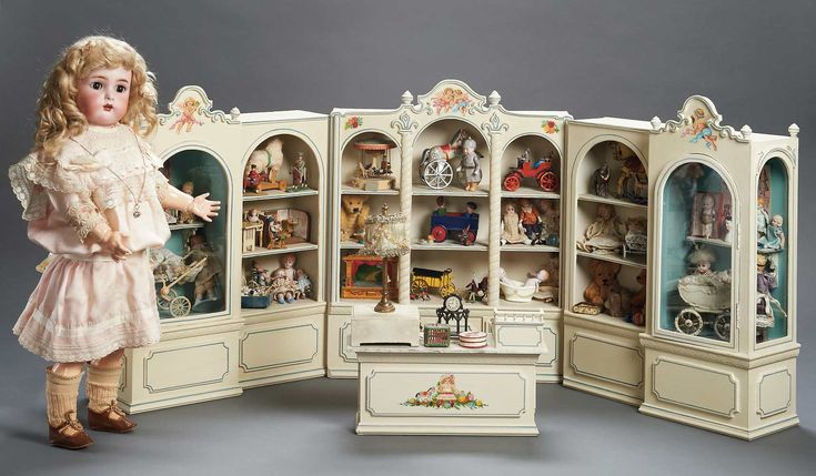 "Toy shop filled with rare antique miniature toys and dolls. 15"" high and 36"" long. From the closed Spielzeug Museum in Vienna."