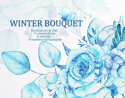 """Check out new work on my @Behance portfolio: """"Winter bouquet - watercolor set"""" http://be.net/gallery/45669089/Winter-bouquet-watercolor-set"""