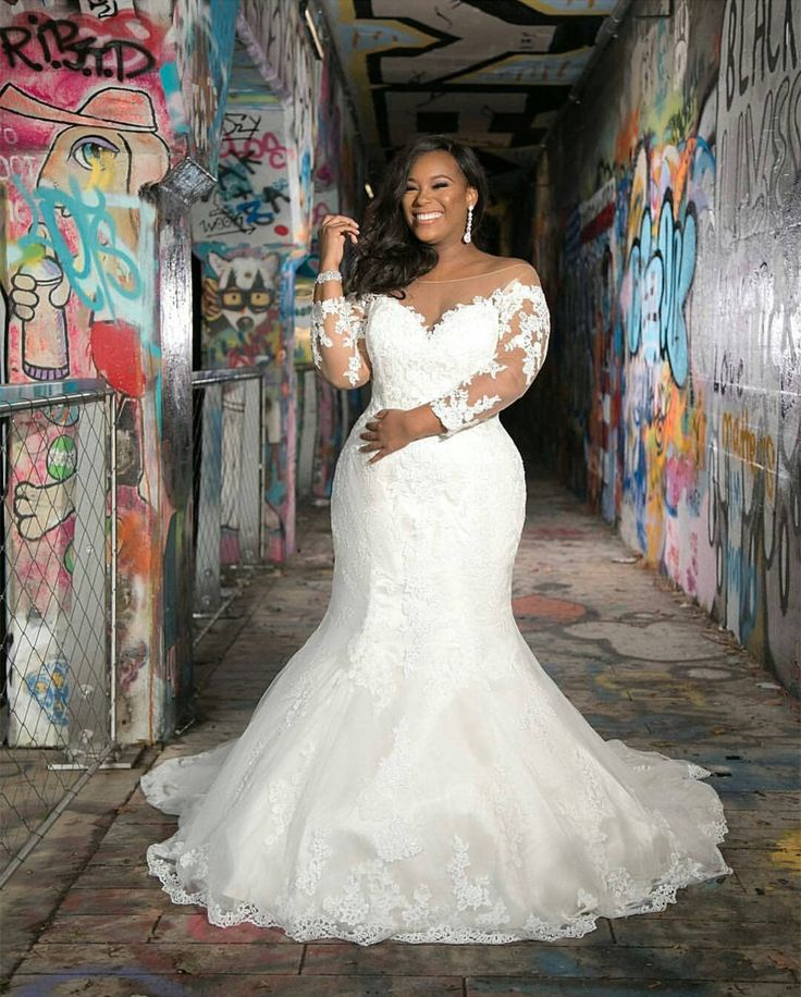 Fora do ombro sereia rendas plus size vestido de noiva mangas compridas mulheres vestidos de noiva   – Products