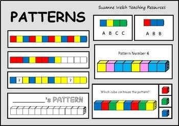 The ultimate resource to help you teach REPEATING COLOUR PATTERNS.10 Different Pattern Sequences: ABABCAABABBABCDAABCABCCAAABAABBABBCIncluded:   10 pattern cards  provided in 4 different formats.  30 pattern strips  copy the pattern.  30 pattern strips  continue the pattern.  30 pattern strips  identify the missing cube(s).  24 Clip and flip cards.  24 Pattern hunt cards.  6 Worksheets.  4 Blank templates.Please click on the PREVIEW button to see examples and a copy of the contents page.All…