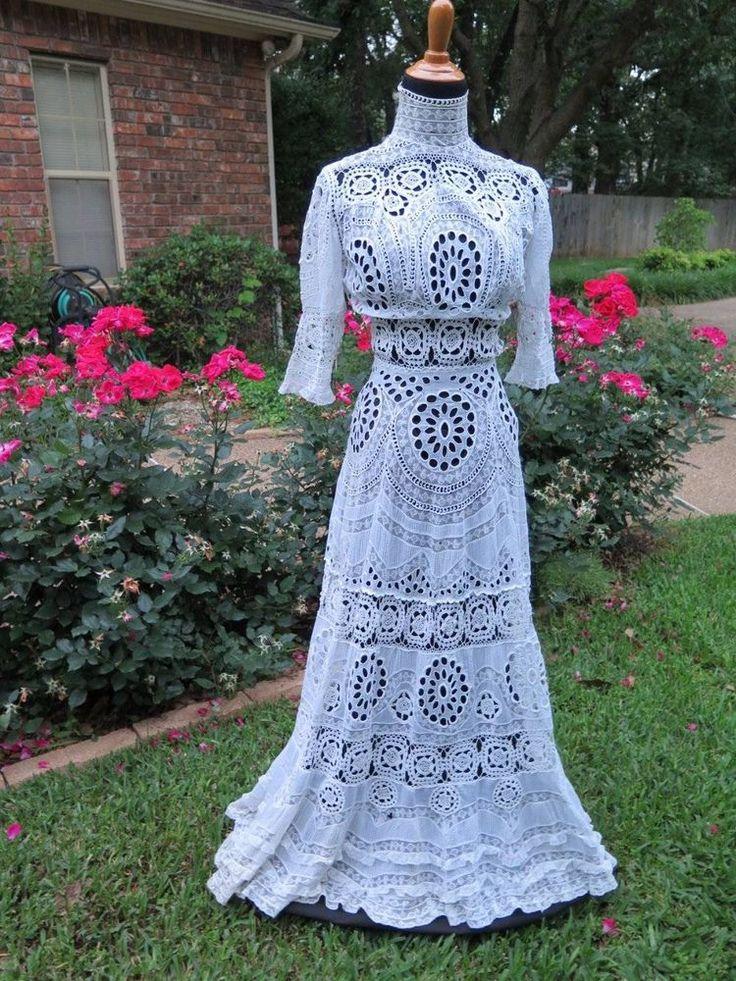 Antique Edwardian Lace Lawn Tea Wedding Dress Gown Fabulous Handwork Embroidery #Handmade