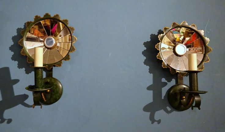 Vintage Pair of Green Painted Toleware Mirrored Sconces, Wall Lights