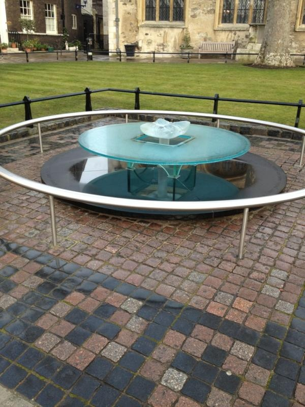 Memorial on Tower Green at Tower of London, where Catherine Howard and Anne Boleyn were executed.