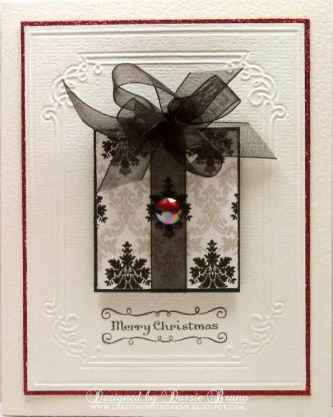 Gift: Classy Handmade Cards, Elegant Christmas Cards, Christmas Cards With Bows, Cards Ideas, Gifts Cards, Birthday Cards, Paper Crafts, Handmade Christmas Cards, Christmas Gifts