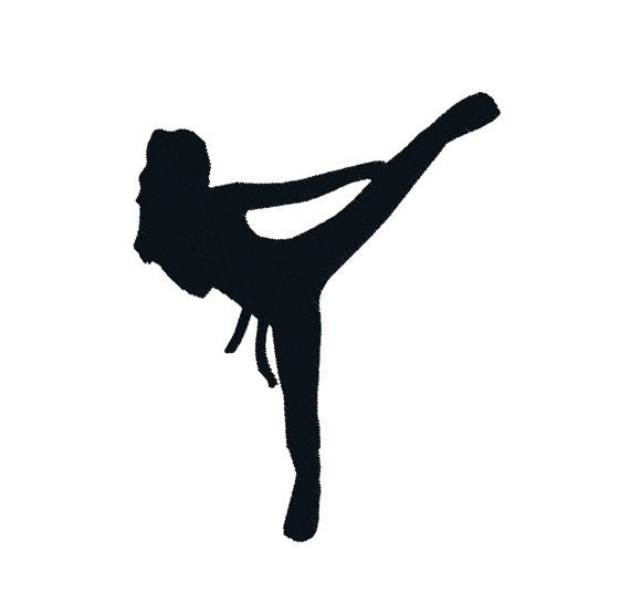 BUY 2, GET 1 FREE - Girl Martial Arts Karate Kick Boxing Silhouette Machine Embroidery Design in 3 Sizes - 4x4, 5x7, 6x10