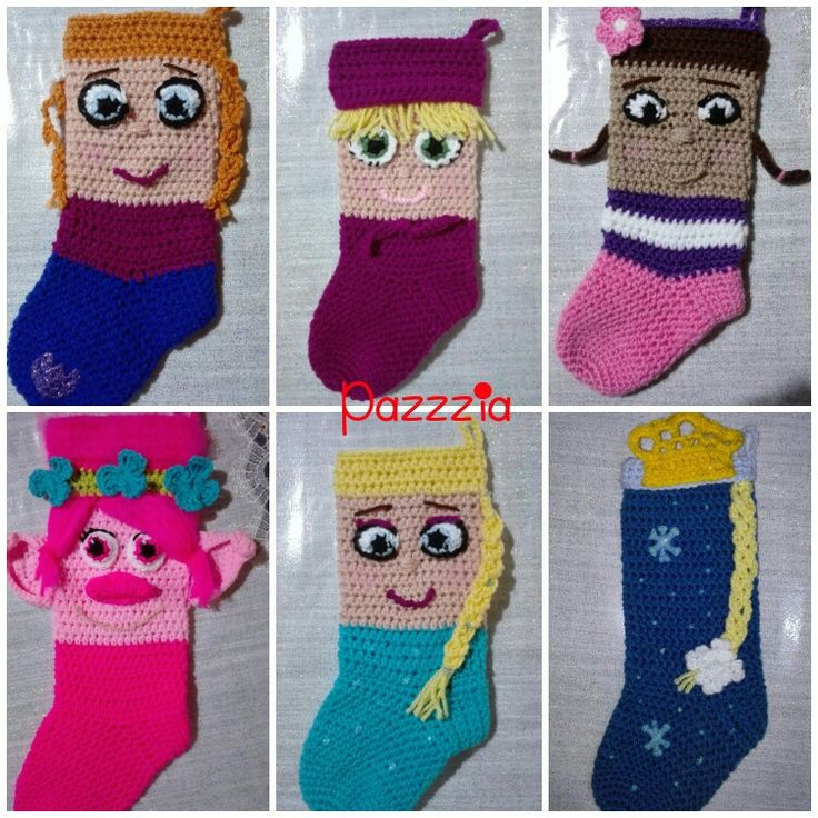 Anna, Elsa, Masha, Dotty, Poppy, Frozen calza epifania crochet - Christmas Stocking