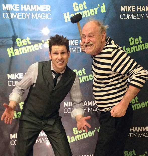 Comedian Gallagher Visits Mike Hammer's Comedy Magic Show at Four Queens Hotel in Las Vegas
