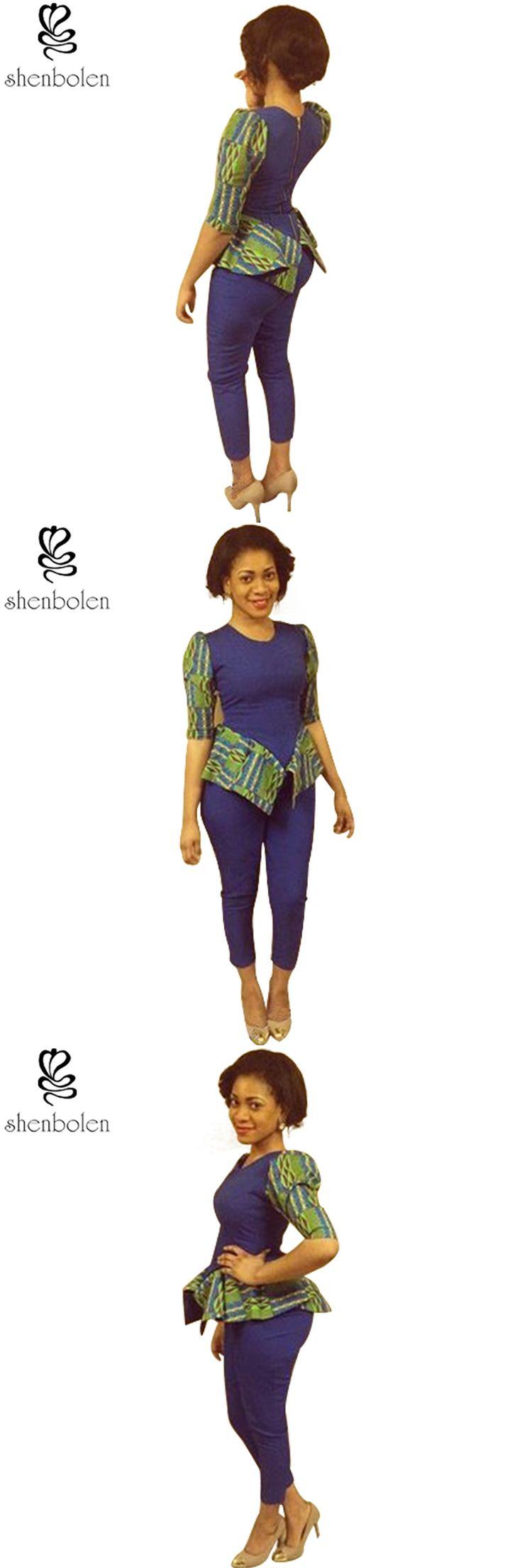 2016 sping autumn African dresses for women ankara clothing Knitting stitching Batik wax printing fashion suit tops+long pants