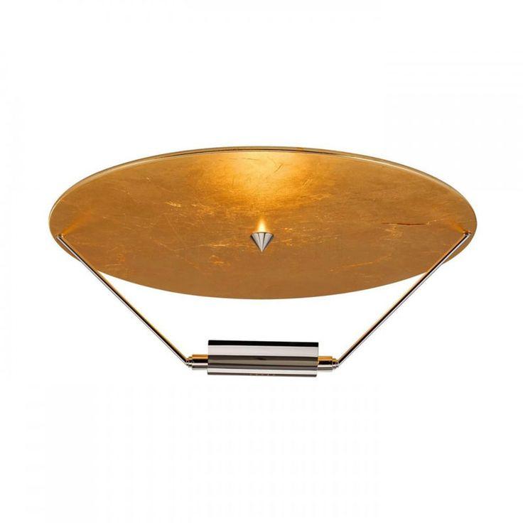 Catellani & Smith Disco d'oro lampada da soffitto nei colori: disco rivestito in foglia color oro e struttura nickel, disco rivestito in foglia color argento e struttura nickel, disco rivestito in foglia color rame e struttura nickel.