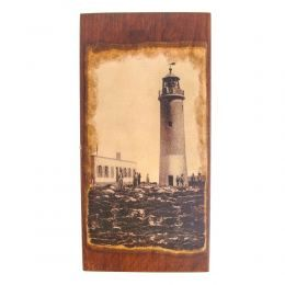 Handmade Wooden Backgammon Board Game Set, Lighthouse Picture Exterior, Large
