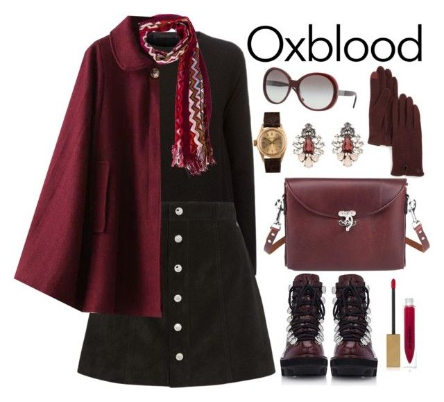 """""""Oxblood"""" by juliejones-333 ❤ liked on Polyvore featuring The Row, AG Adriano Goldschmied, Missoni, Alexander Wang, Burberry, Rolex, Ralph Lauren, Forever 21, oxblood and contestentry"""