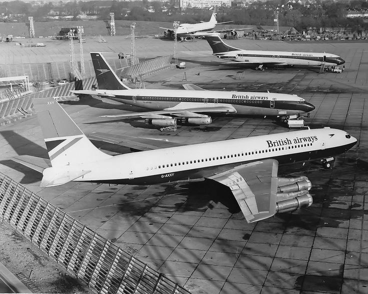 British Airways Vickers Super VC10 (Series 1150), surrounded by parked Boeings. The VC10 is still wearing BOAC colours, but with British Airways titles, indicating that this picture was taken only a short time after the commencement of BA in April, 1974. (Photo: aceebee)
