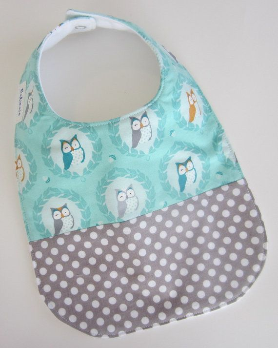 Owl Baby Bib  Drool Bib Baby / Mint and Grey Owl Bib / by Babiease, $13.00