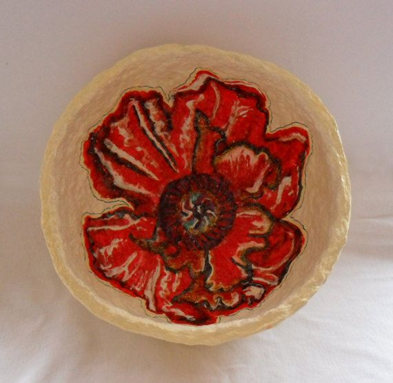 Pompous Red Poppy Papiermaché Bowl by Alison Day  Newsletter - for more info and creativity: http://alisonday.us8.list-manage.com/subscribe?u=f0ee923eb109c974f6e7d72c2&id=d783011ad5