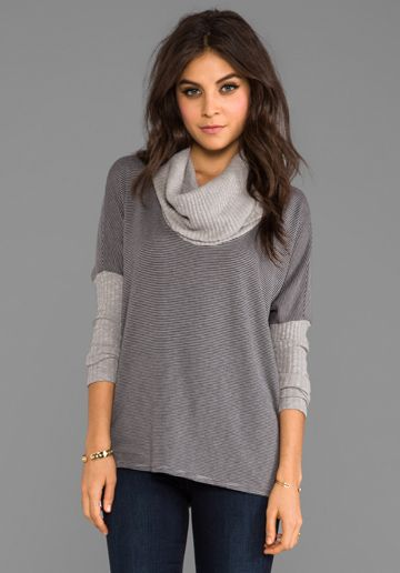 MICHAEL STARS Cowl Neck Sweater in Abalone