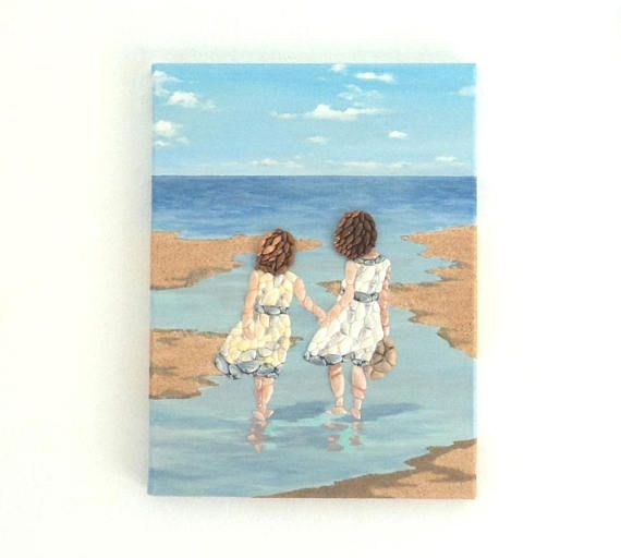 Acrylic Painting, Beach Artwork with Seashells and Sand, Girls on Beach in Seashell Mosaic & Sand, Mosaic Art, 3D Art Collage, Home Decor, Wall Decor #ArtworkwithSeashells #mosaiccollage #seashellmosaic #homedecor #walldecor #3D