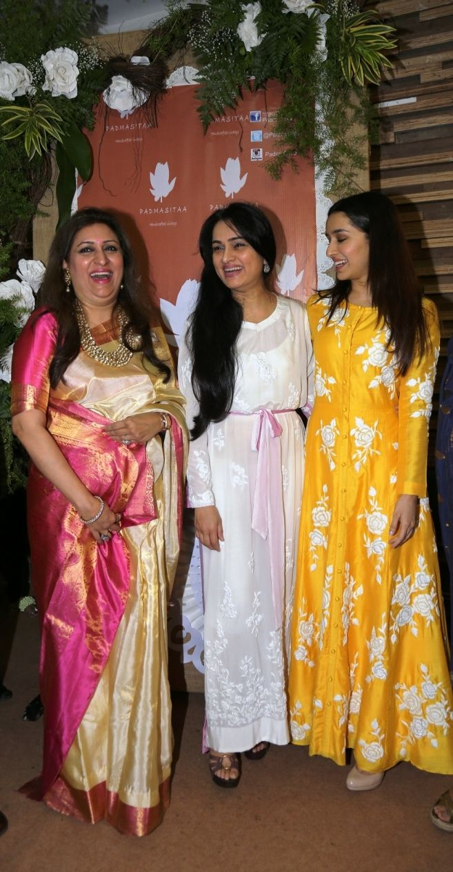 Shalini Piramal, Padmini Kolhapure and Shraddha Kapoor share a moment at the launch of Padmasitaa by Padmini Kolhapure & Sita Talwalkar at IMC Ladies' Wing Exhibition