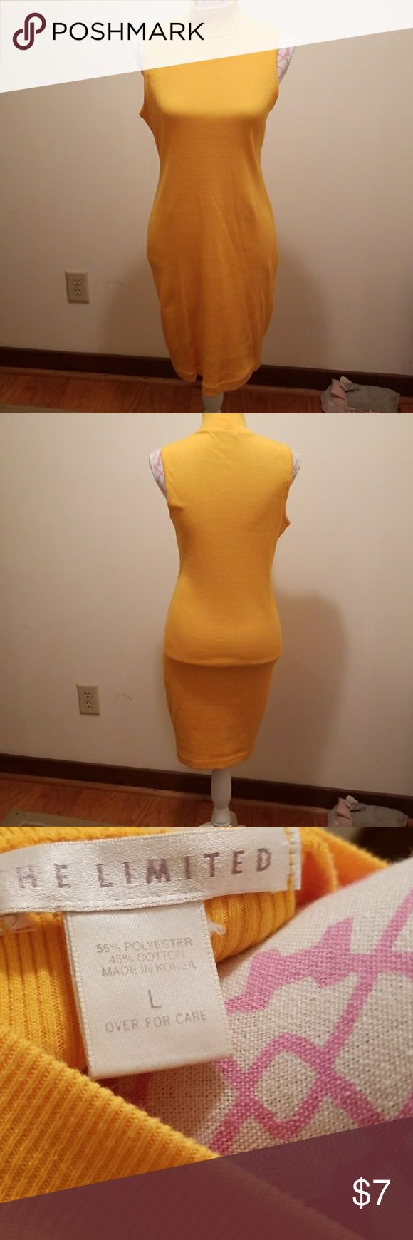 """The Limited Dress Sunflower yellow stretch sleeveless dress size large. Chest measures 32"""" and length measures 36"""" from sholder seam to hem. The Limited Dresses Midi"""