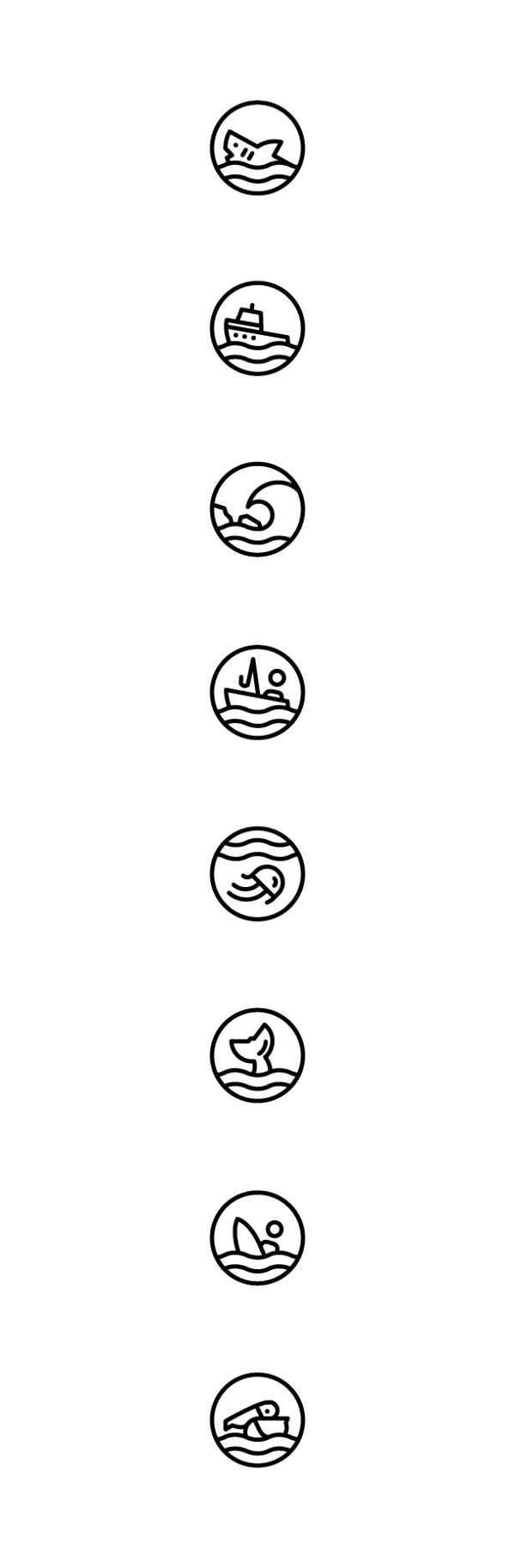 Beach Icons by Evan Marks, via Behance