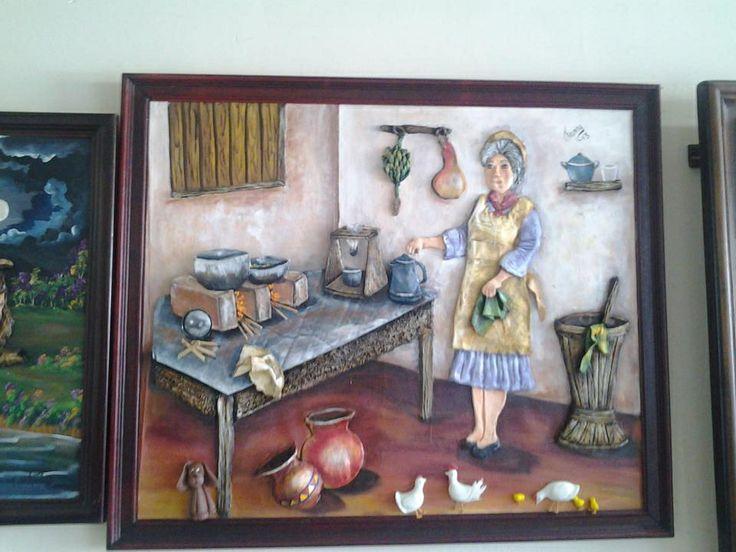 Abuelita en cocina de le a pinturas en leo pinterest - Como hacer una cocina de lena ...