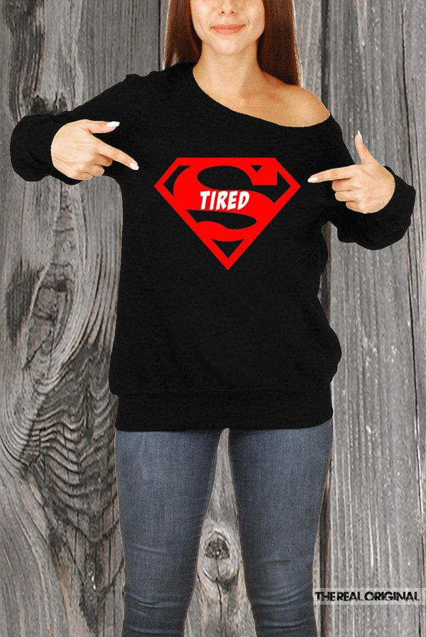 Super Tired Slouchy Sweater - Superman Sleeping Sweater Rather Be Sleeping Superman Napping Naps Sleep Shirt Gifts for Her Mothers Day RO226 by TheRealOriginal on Etsy