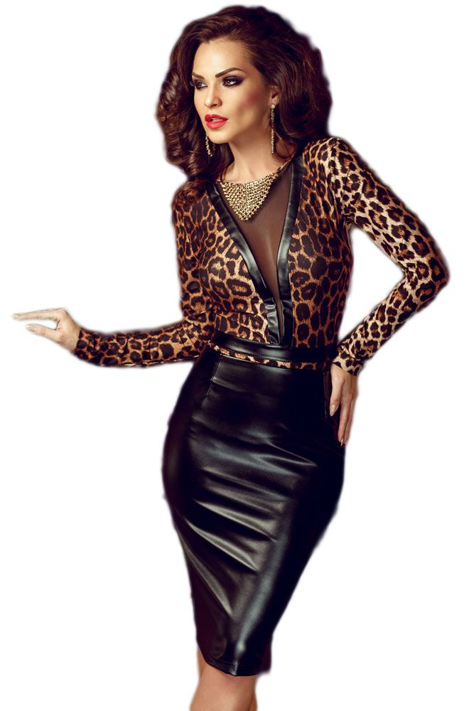 Sexy Animal Print Leather Splice Bodycon Midi Dress