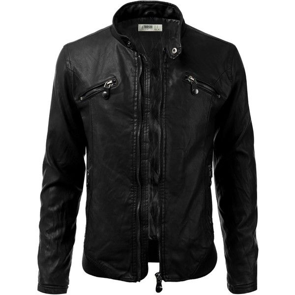 IDARBI Mens Leather Look Motorcycle Rider Bomber Jacket ($38) ❤ liked on Polyvore featuring men's fashion, men's clothing, men's outerwear, men's jackets, mens jackets, mens blouson jacket, mens flight jacket and mens faux leather jacket