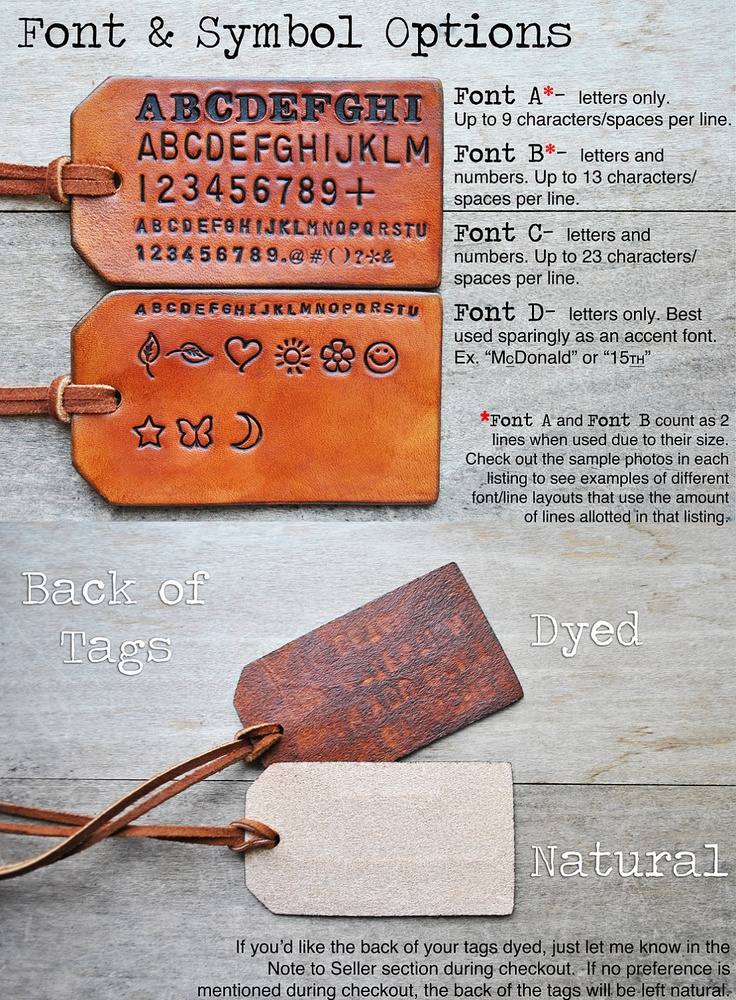 2 Custom Leather Luggage Tags -Up to 8 lines - Unique Gift for Boyfriends, Husbands, 2011 Graduation, Fathers Day, or Vacation Travel.. $26.45, via Etsy.