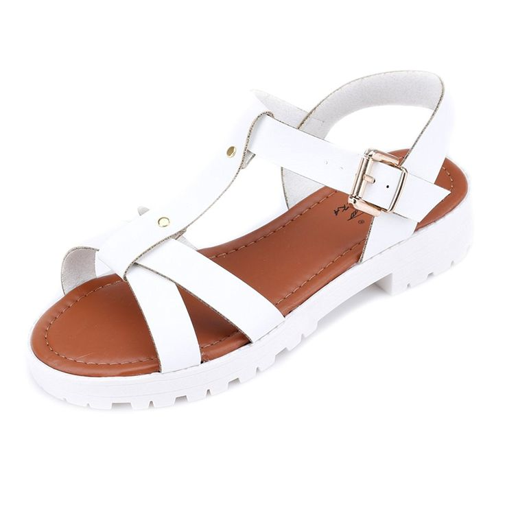 OrenMode Women's Ankle-Wrap Sewing Beach Casual Flat Sandals *** You can  find