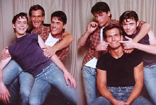 "Promo pics: Patrick Swayze, C. Thomas Howell and Rob Lowe for ""The Outsiders"" (1983)."