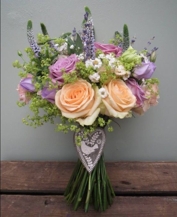 Bridal Bouquet in peach and lilac..