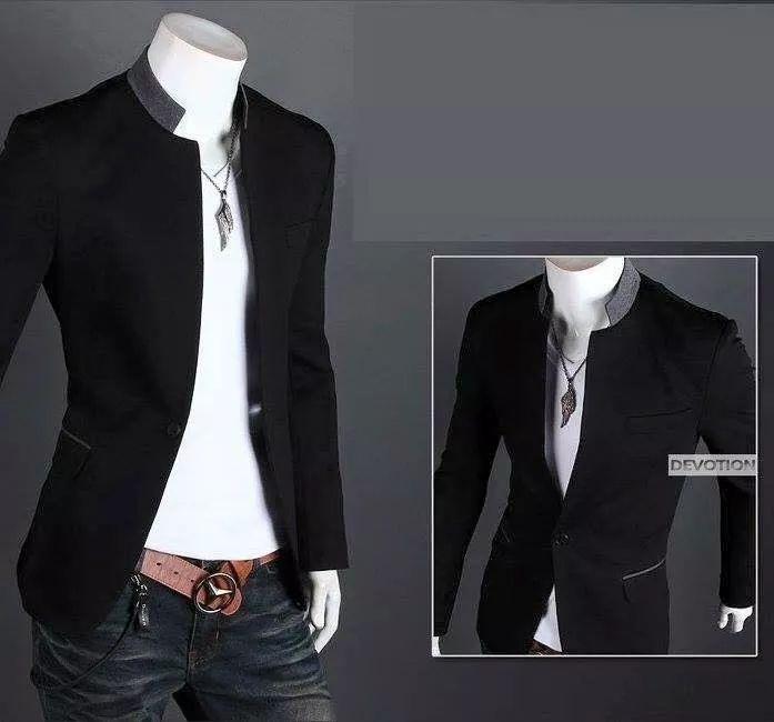 elegante blazer saco slim fit cuello mao envio gratis! 1 dia