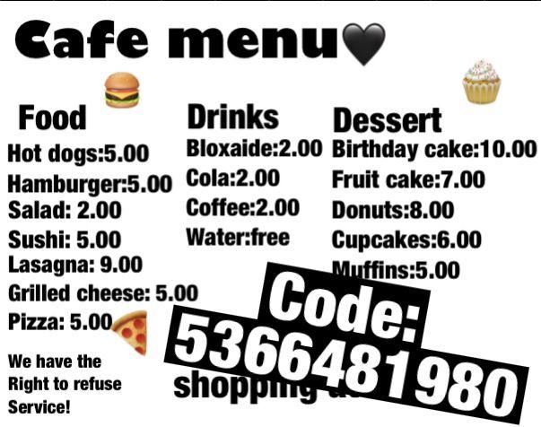 Roblox Cafe Uniform Bloxburg Cafe Menu Decal In 2020 Cafe Menu Cafe Cafe House
