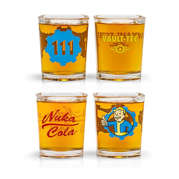 Treat your guests better than the Wasteland bartenders treat their customers: break out these Fallout shot glasses and serve up some rum and Nuka-Cola or Gwinnett Brew. Claim your favorite in-game design: Vault-Tec, Vault 111, Nuka Cola, or Vault Boy.