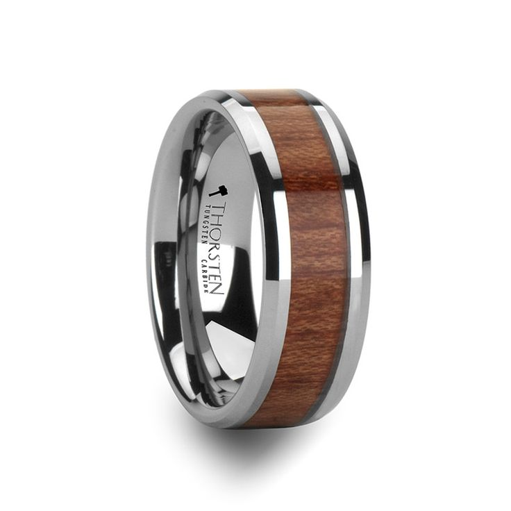 fairbanks beveled mens tungsten wedding band with wood inlay