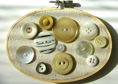 Love this idea for displaying vintage buttons