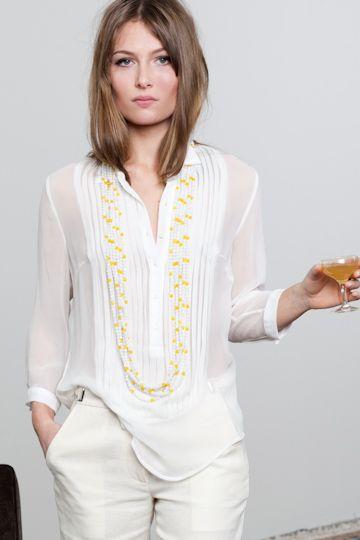 White Sandwashed Tuxedo Shirt | EmersonMade: White Shorts, Wardrobes Basic, Emerson Fries, White Shirts, White Pants, Long Necklaces, White Tuxedos, Tuxedos Shirts, Fall Wardrobe