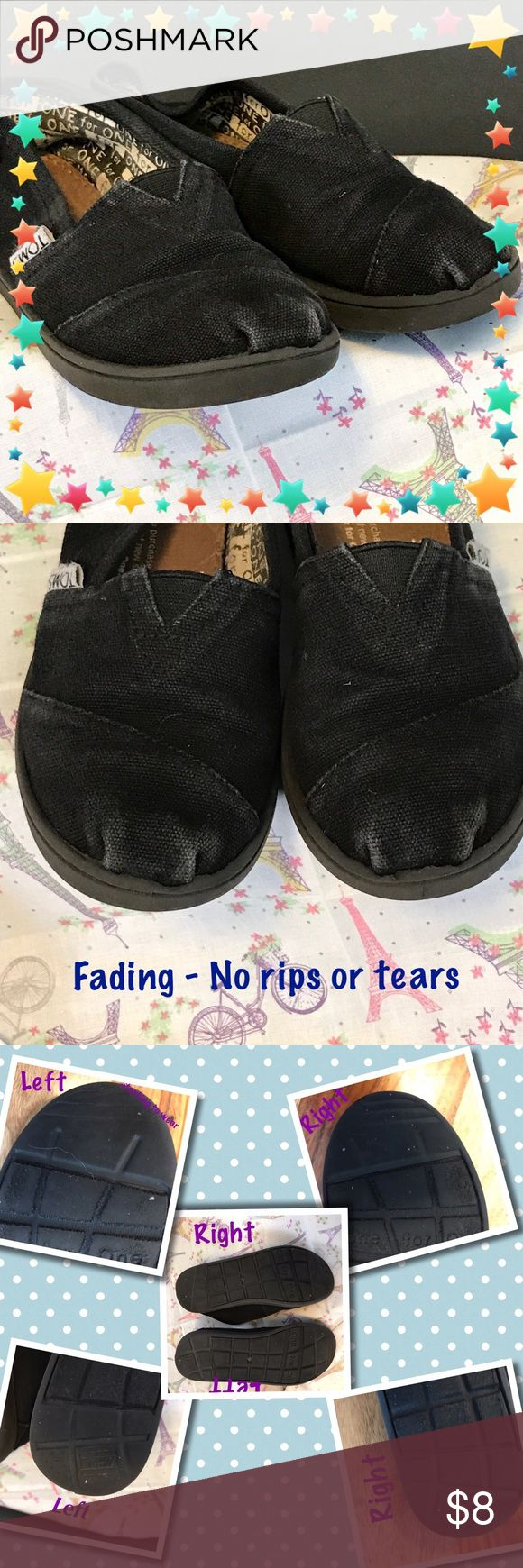 Kid's Toms Black Size - 13.5 Kid's Toms Black Size -  13.5 Pre-owned - Great Condition:  No holes or rips in the canvas, there is fading on the shoes. Smoke-Free  home.   😊Thank you for browsing my closet and have a good day!❤  ***************************************************** 💖 bundle & save 🌀 offers welcome 📦 fast shipping TOMS Shoes Sneakers