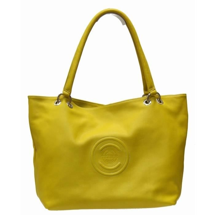 sac texier jaune   Grand sac cabas TEXIER jaune
